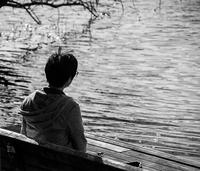 Boy and lake